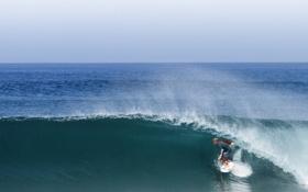 Обои море, волны, небо, горизонт, серфер, ствол, серфинг
