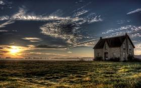 Картинка поле, закат, дом