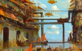 Картинка море, вода, трубы, город, парусник, корабли, арт