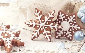 Обои снежинки, печенье, сладости, Christmas, десерт, выпечка, праздники