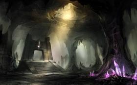 Картинка кристаллы, пещера, постамент, сталактиты, by yobarte, crystal cave
