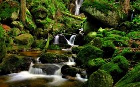 Обои природа, ручей, камни, водопад