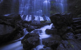 Картинка вода, скала, камни, водопад, поток