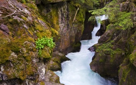Обои река, скалы, куст, водопад, поток