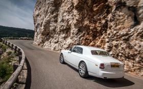 Обои Авто, Дорога, Белый, Phantom, День, Rolls Royce, Купэ