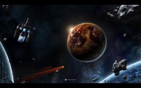 Обои космос, планета, метеориты, космический корабль