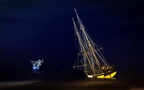 Обои море, пейзаж, ночь, корабль