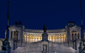 Картинка небо, ночь, огни, скульптура, италия, рим, площадь Венеции