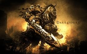 Картинка конь, война, апокалипсис, меч, всадник, war, darksiders