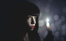 Картинка девушка, настроение, свеча