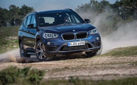 Обои синий, бмв, BMW, xDrive, паркетник, Sport Line, 2015
