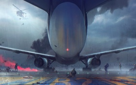 Обои самолет, дождь, атака, заражение, зомби, вертолет, солдаты