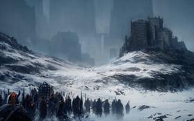 Картинка снег, горы, город, войны, арт, by andreasrocha, the prize