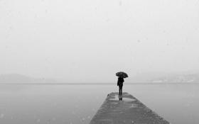 Обои холод, девушка, озеро, зонтик, спина, метель, мол