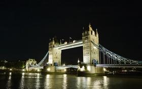 Обои ночь, мост, город, огни, река, Tower Bridge