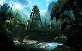 Обои джунгли, завод, вышка, Lost Planet 2, пальмы