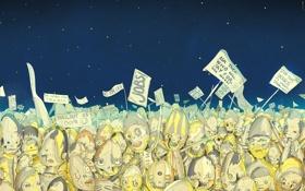 Обои небо, звезды, мертвецы, Matei Apostolescu, плакаты, Dead, бунт
