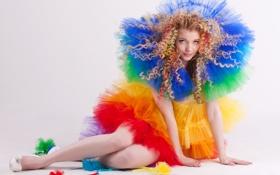 Картинка стиль, фон, волосы, Девушка, радуга