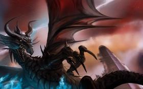 Обои магия, молнии, дракон, крылья, арт