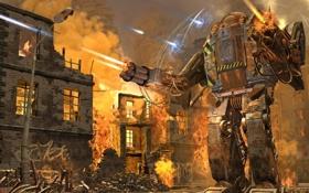 Картинка огонь, робот, граффити, дома, бой