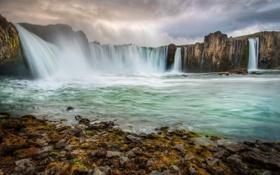 Картинка река, скалы, водопад, Исландия, Iceland