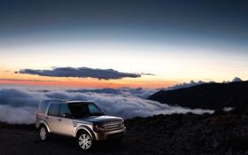 Картинка облака, закат, горы, Land Rover, Discovery 4