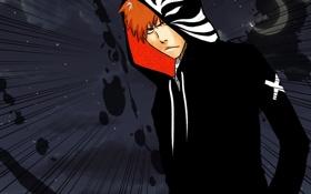 Картинка капюшон, парень, Bleach, Ichigo Kurosaki, anime, блондин