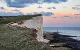 Картинка море, берег, маяк, вечер