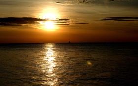 Картинка море, солнце, закат, парус, блик, Sunset