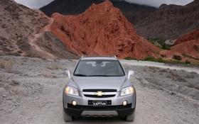 Обои Captiva, фон, silver, горы, Chevrolet