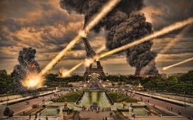 Обои город, огонь, дым, эйфелева башня, париж, метеориты, бедствие