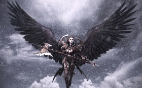 Картинка девушка, облака, снег, крылья, доспехи, воительница, Aion