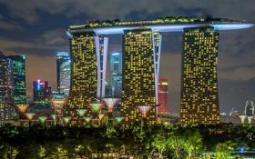 Обои огни, здания, Сингапур, отель, Singapore, Marina Bay Sands, Марина Бэй Сэндс