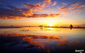 Картинка вода, закат, люди, отдых, парусник, мель