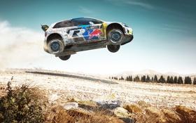 Обои Авто, Игра, Белый, Volkswagen, Скорость, Прыжок, Rally