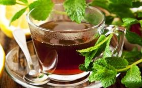 Картинка листья, лимон, чай, зеленые, пар, ложка, чашка