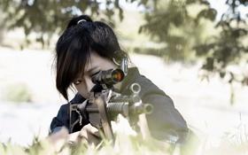 Обои девушка, оружие, азиатка