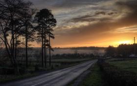 Картинка дорога, закат, туман