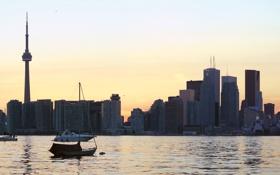 Обои Toronto, Ontario, Multi Monitors, Закат, Онтарио, Canada, Торонто