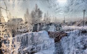 Картинка зима, стекло, узор, окно