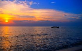 Обои закат, облака, лодка, небо, море