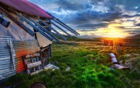 Картинка облака, восход, старый дом, Sunrise, The Old Farmhouse