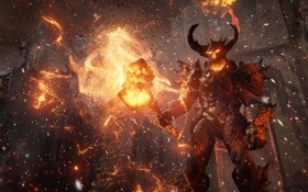 Картинка пламя, молот, демон, крепость, unreal engine 4