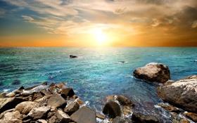 Картинка закат, камни, trees, море, sunset, sea, beach