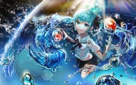 Обои вода, капли, музыка, арт, девочка, vocaloid, miku hatsune