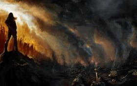 Обои поле, пожар, победа, меч, армия, доспехи, трупы