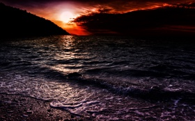 Картинка закат, небо, горы, волны, тучи, море