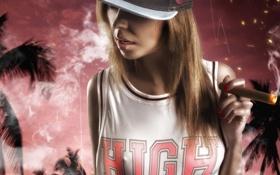 Картинка Girl, Smoke, Mike, High, Swag, Cigar, Cap