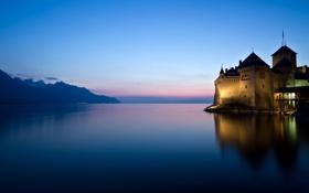 Картинка небо, вода, свет, пейзаж, закат, горы, природа
