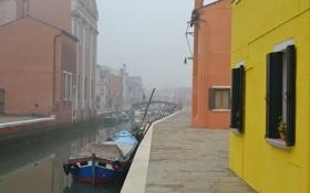 Картинка мост, туман, лодка, дома, Италия, Венеция, канал